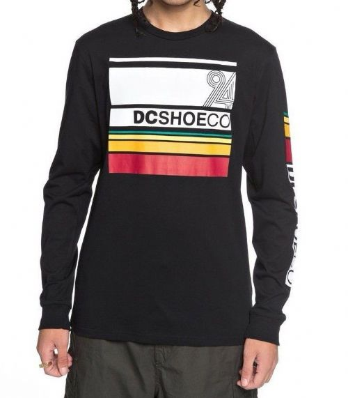 DC SHOES MENS LONG SLEEVED TOP.MAD RACER BLACK COTTON SKATE T SHIRT 8S 68 KVJO
